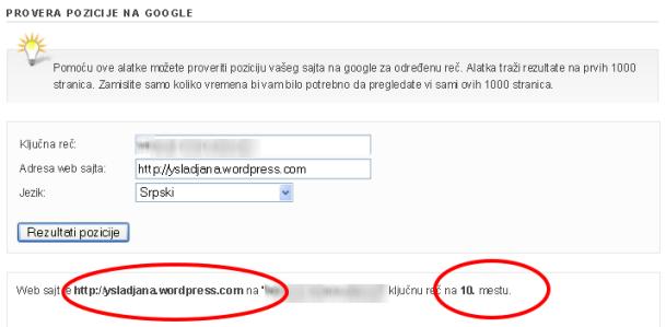 SEO-provera pozicije na Google za određene  ključne reči